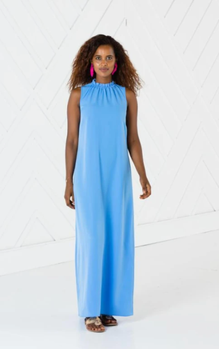 Sail to Sable Ruffle Neck Maxi Dress