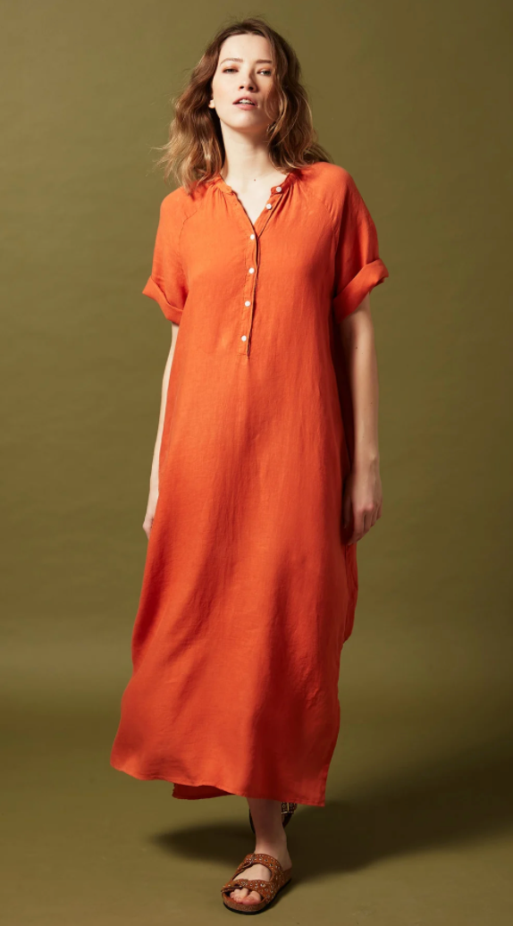 Hartford Raglan S/S  Linen Maxi Dress