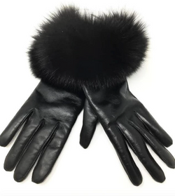 Mitchie's Leather & Fur Cuff Gloves