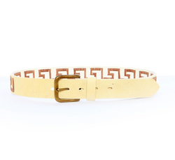 Stick & Ball Greek Key Rawhide Belt