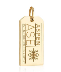 Jet Set Candy 14K Vermeil Large ASE Aspen Luggage Tag Charm