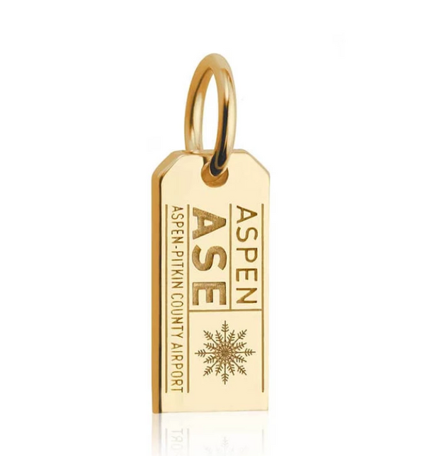 Jet Set Candy Solid Gold Mini ASE Aspen Luggage Tag Charm