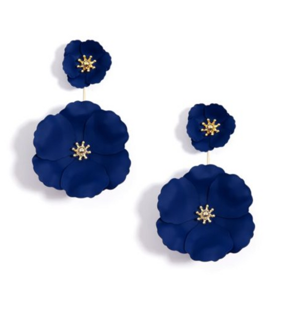 Zenzii Hand-Painted Metal Flower Earring Jackets