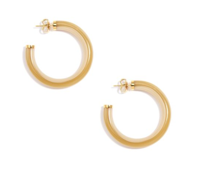 Zenzii Resin Hoop Gold Capped - Tan