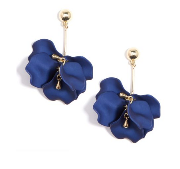 Zenzii Shiny Gold 3D Petal Drop Earrings - Navy
