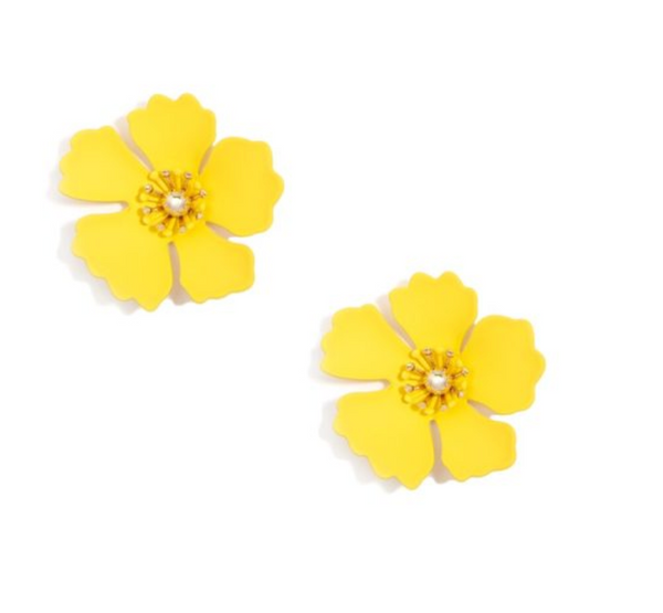 Zenzii Large Flower Stud - Yellow