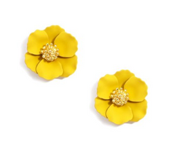Zenzii Small Flower Stud Gold Center - Yellow