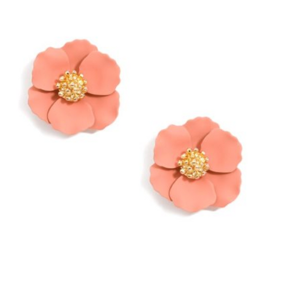 Zenzii Small Flower Stud Gold Center - Pink