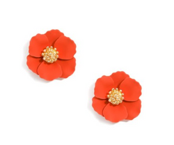 Zenzii Small Flower Stud Gold Center - Red