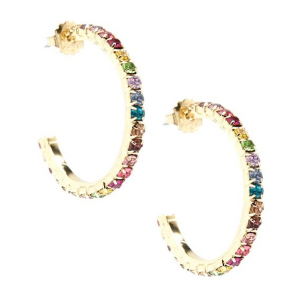 Crystal Embellished C-Shaped Hoop