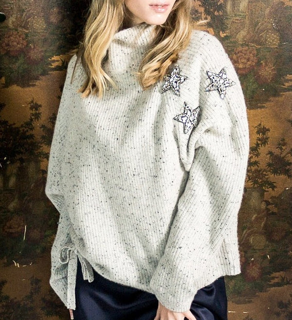 Never A Wallflower Embellished Stars & Hearts Sweater