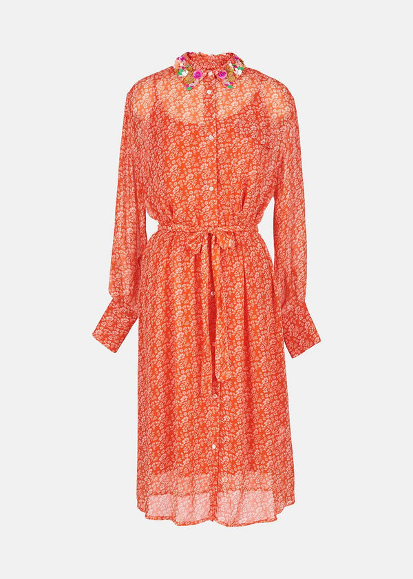 Essentiel Antwerp Zamingo Embroidered Collar Shirtdress