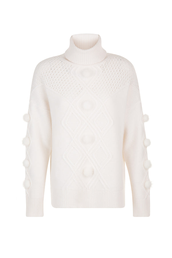 Max & Moi Mink Pom Sweater