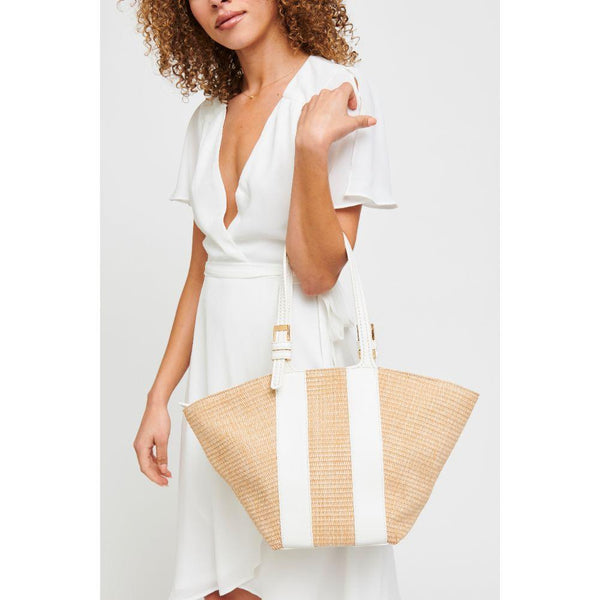 La Jolla Leather Trim Tote - White