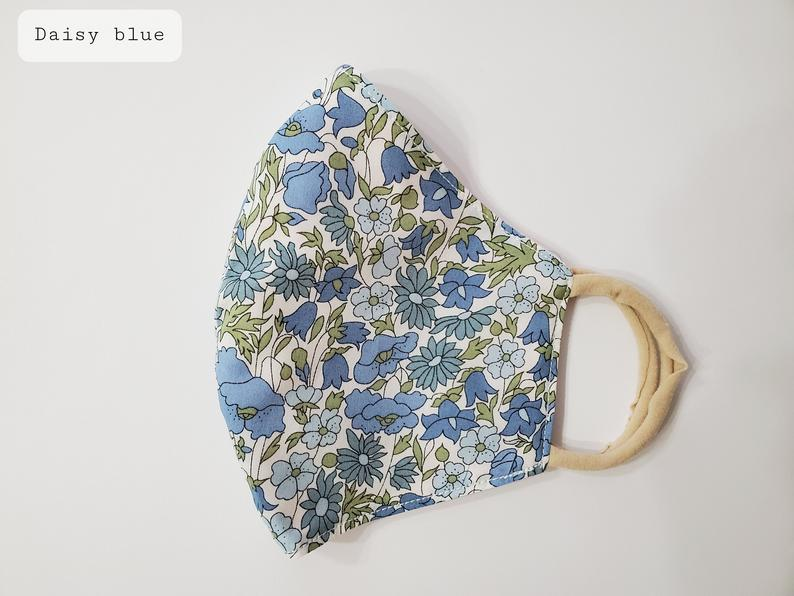 Little Flowers Fabric Face Mask - Daisy Blue
