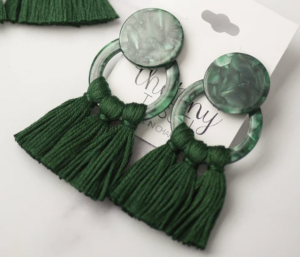 The Tiny Tassel Hunter Earring Green