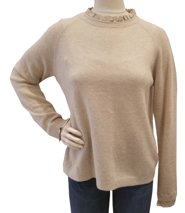 Cortland Park Silk Ruffle Collar Sweater