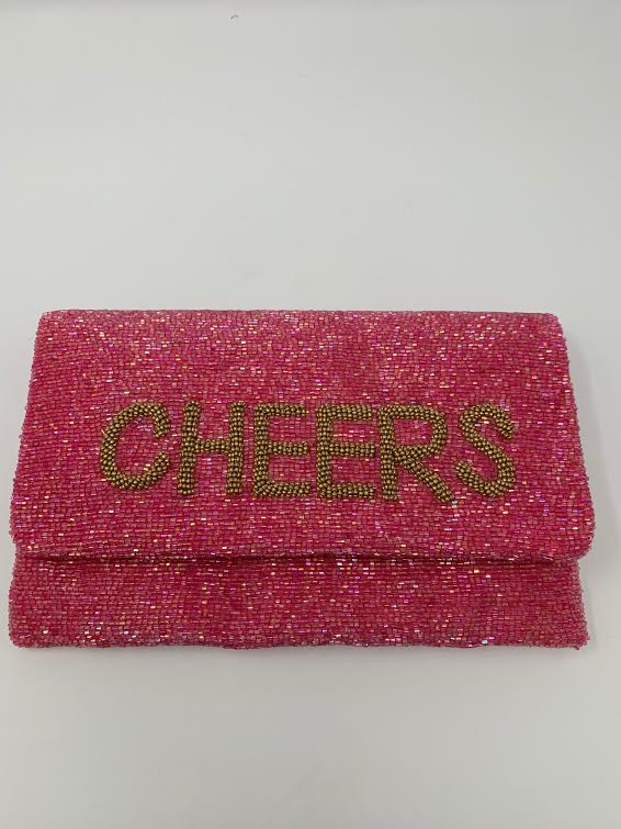Moyna Rose Pink/M.Gold (Cheers) Foldover Clutch