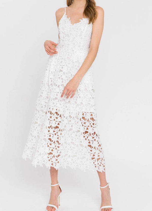 Endless Rose Floral Lace Midi Dress