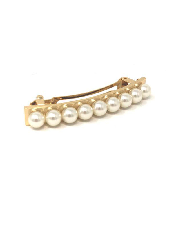 France Luxe Pearl & Metal Barrette - Cream/gold