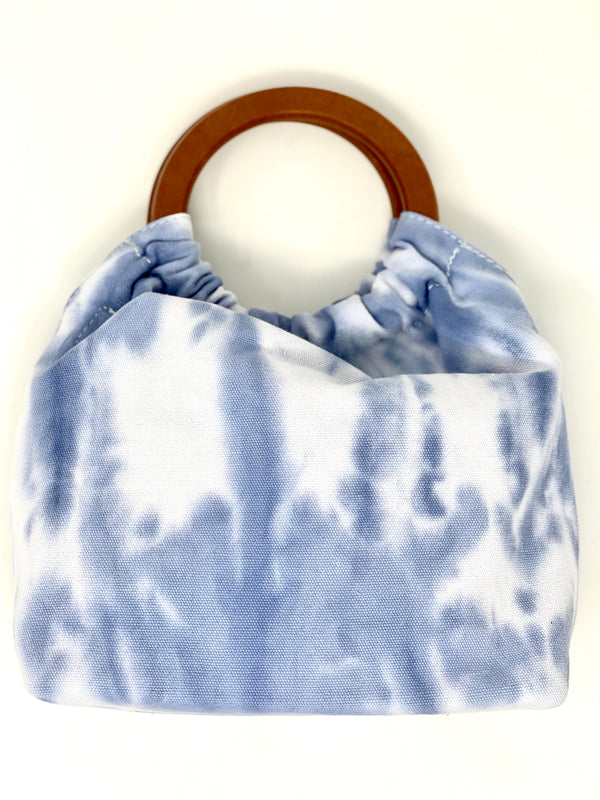 Blue Tie Dye Tote with Wooden Handles