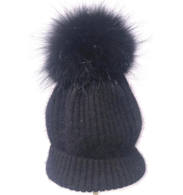 Linda Richards Mohair/wool Pom Hat - Navy