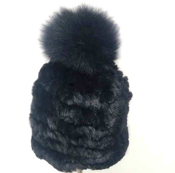 Mitchie's Knitted fur hat -Black