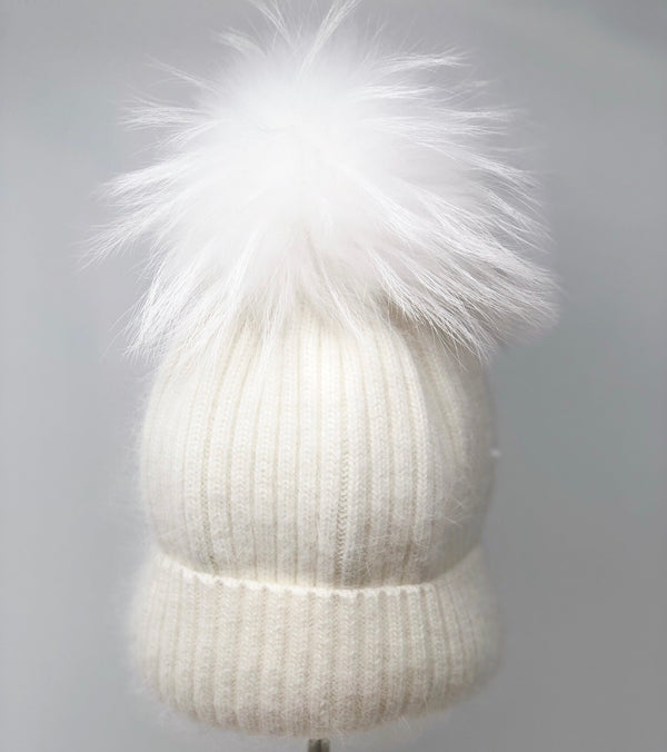Linda Richards Mohair/wool Pom Hat - White