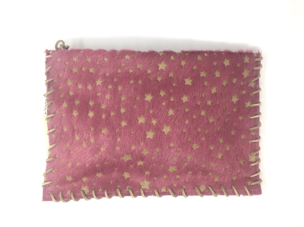 Let & Her Apache Calf Hair Embossed Star Clutch