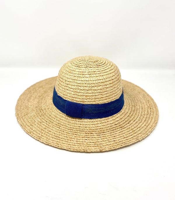 Hat Attack Hannah Sun Hat - Navy Jute Ribbon