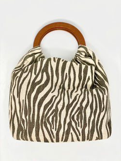 Zebra Tote with Wooden Handles