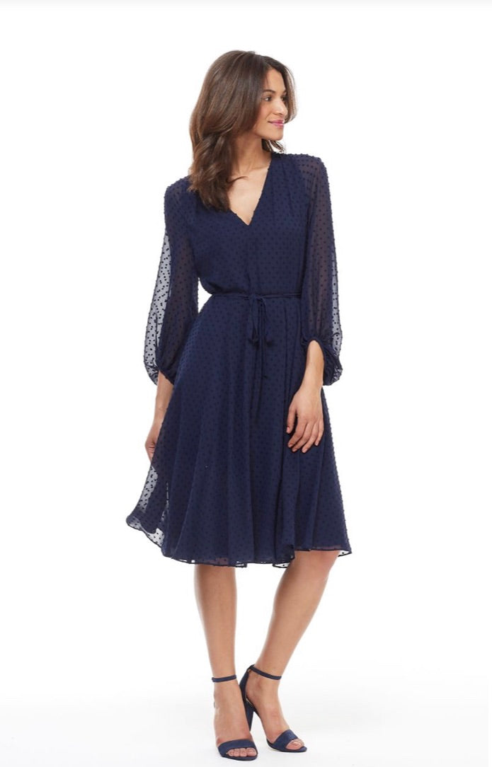 Gal Meets Glam Fit & Flare Bell Sleeve Dress