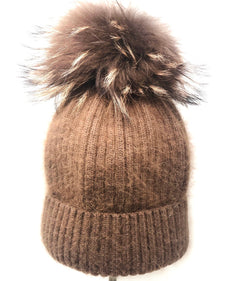 Linda Richards Mohair/wool Pom Hat - Taupe
