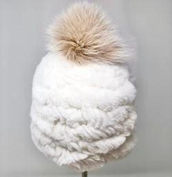 Mitchie's Knitted fur hat White
