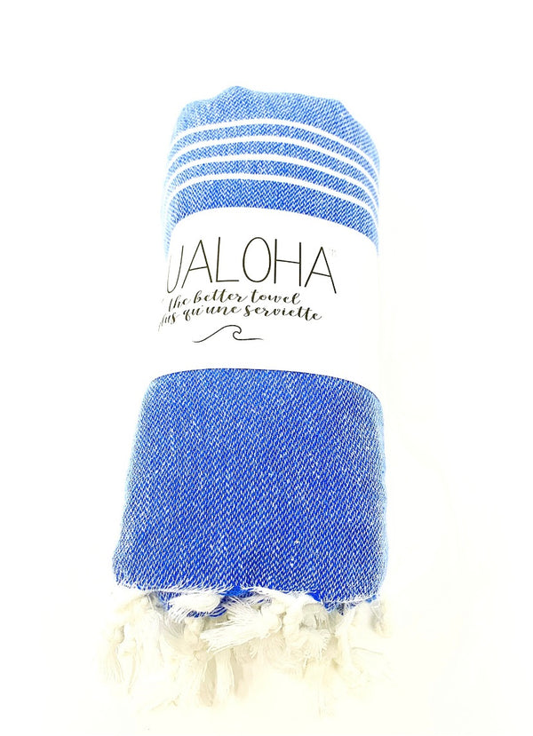 Lualoha Classic Collection Azure Blue Turkish Towel