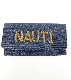 Moyna Beaded Navy/Gold Nauti Clutch