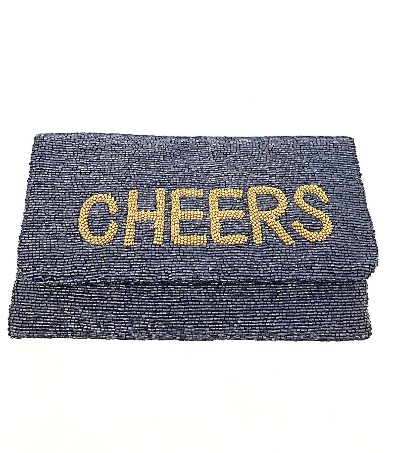 Moyna D.Navy/M.Gold(Cheers) Foldover Clutch