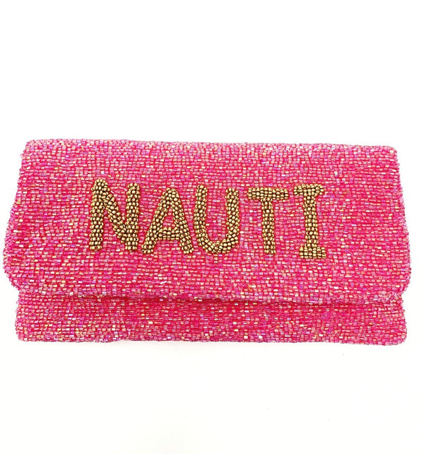 Moyna Beaded Hot Pink/Gold Nauti Clutch