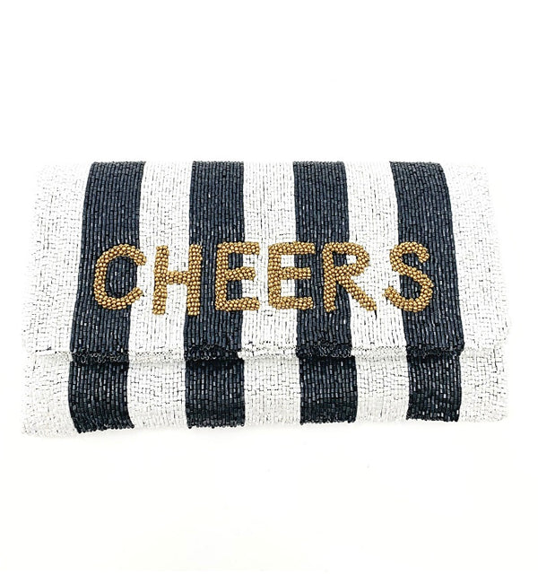 Moyna D.Navy/White/M. Gold(Cheers) Foldover Clutch