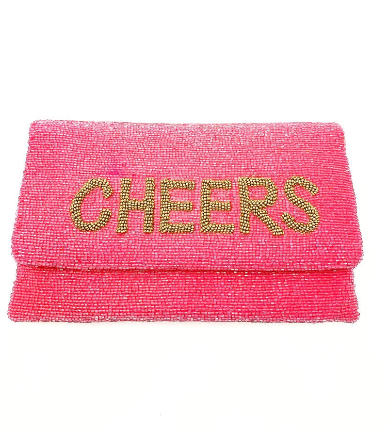 Moyna Coral/M.Gold(Cheers)  Foldover Clutch