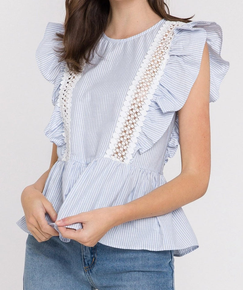 English Factory Ruffle Sleeve Top Striped  w/ Lace