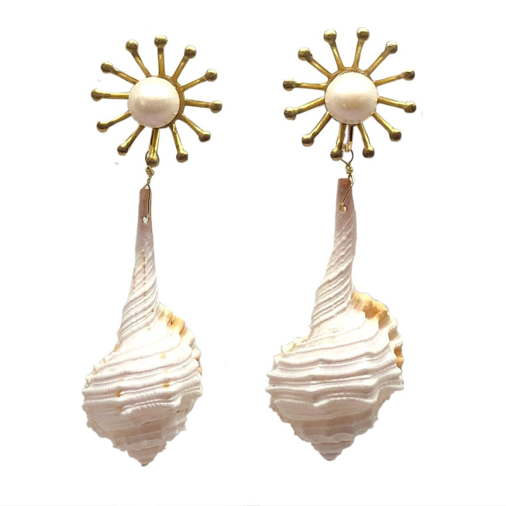 Meg Carter Tara's Shells Clip Earrings