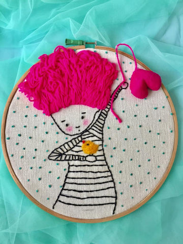 Pink wooly haired girl holding a balooon Embroidered Hoop