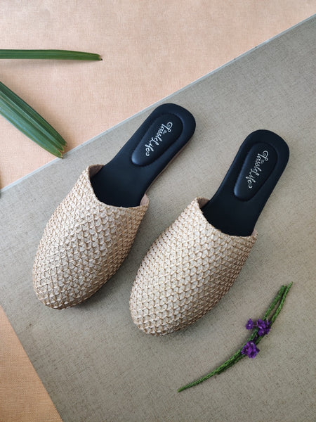 Cream Texture Vegan Round Mules - The Tassle Life