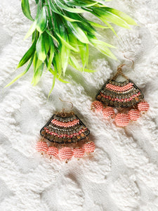 Peach bead and golden work Earrings - The Tassle Life