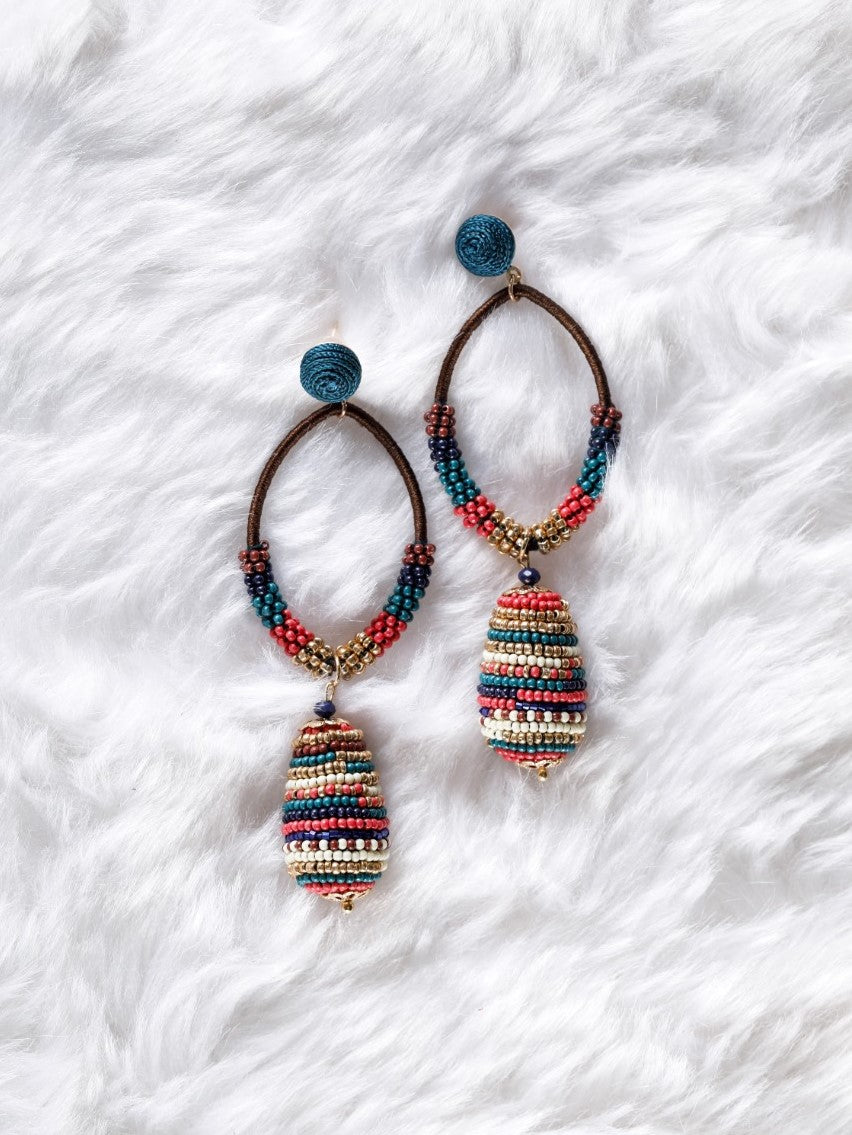 Multicolour bead Stud Earrings - The Tassle Life
