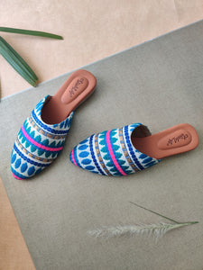 Textured Blue Vegan Mules - The Tassle Life