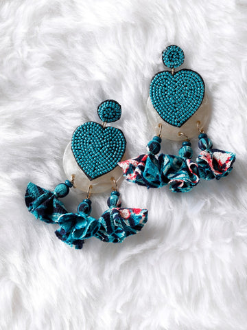Heart shape earrings with fabric tassel Earrings - The Tassle Life