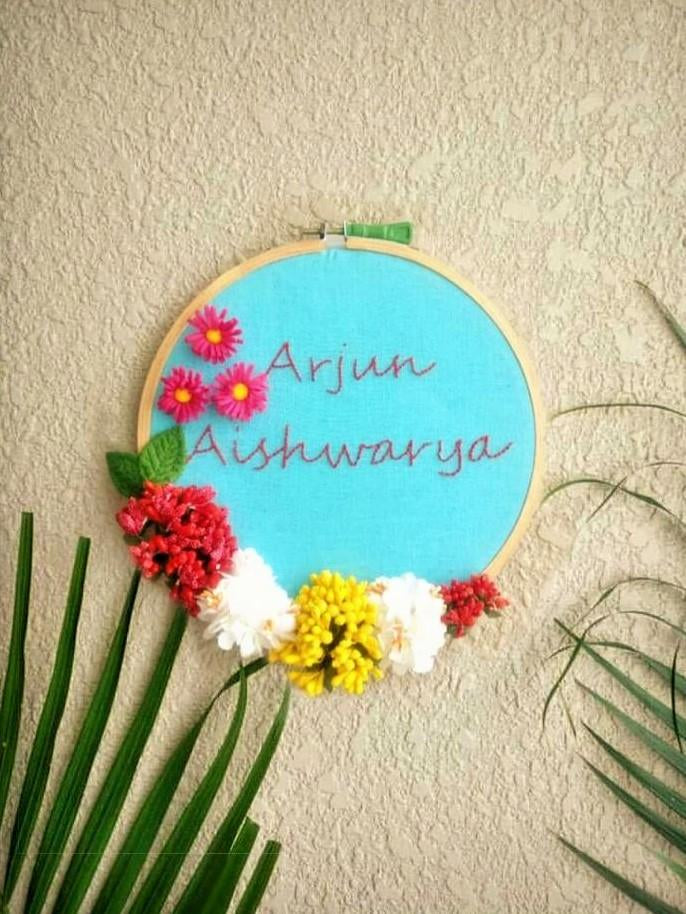 Customizable Floral Embroidered Hoop - The Tassle Life