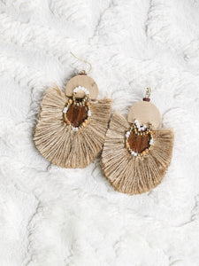 Jute on a wooden base Earrings - The Tassle Life